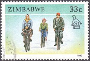 Zimbabwe # 626 used ~ 33¢ Bicyclists