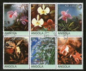 Angola Used Block Of 6 Orchids Flowers 2000