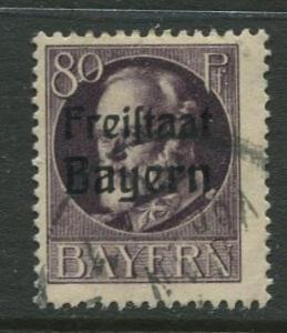 Bavaria -Scott 205 - Bavarian Overprint -1919-20 - Used -80pf Stamp