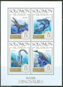 SOLOMON ISLANDS  2013 WATER DINOSAURS  SHEET  MINT NH