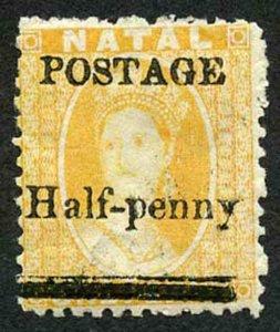 Natal SG91 1877 1/2d on 1d yellow Fresh M/Mint