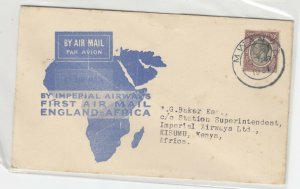 Tanganyika KGV 1931 1st Flight Cover To England Postal History J6074