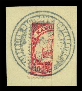 German Colonies- CAROLINE ISLANDS 1905 PONAPE  Provisional 10pf bisected Mi 9H