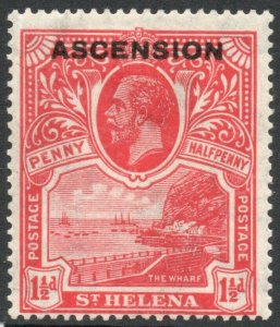 ASCENSION-1922 1½d Rose-Scarlet Sg 3 MOUNTED MINT V38020