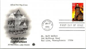 Great Lakes Lighthouses lake Ontario First Day Cover 1995 cachet