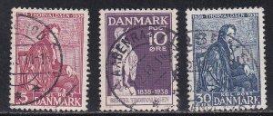 Denmark # 264-266, Thorvaldsen - Sculptor, Used, 1/2 Cat.