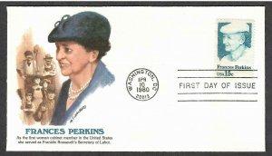 US # 1821 Frances Perkins Fleetwood FDC - I Combine S/H