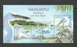X0877 VANUATU FAUNA BIRDS HERONS OF THE REEF #1314-8 MICHEL 14 EURO BL59 FIX