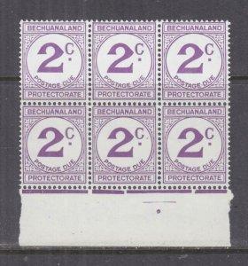 BECHUANALAND, POSTAGE DUE, 1961 Decimal Currency, 2c. Violet, block of 6, mnh.