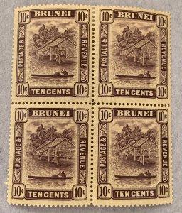Brunei: 1937 10c in block of 4, unused, NH?  Scott 54,  CV $160.00.   SG 73