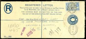 EDW1949SELL : NIGERIA 1957 Registered Letter Envelope to USA.