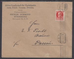 Bavaria Mi 115Aa on 1918 Cover, NURNBERG to PASSAU, VF SOLO USE