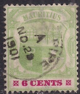 Mauritius 1895 - 99 QV 6ct Green & Rose Red used SG 131 ( G86 )