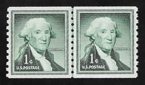 1054 1 cent 1954 Washington Line pair, Stamp Mint OG NH EGRADED SUPERB 98 XXF