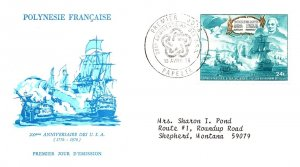 French Polynesia, Worldwide First Day Cover, Americana