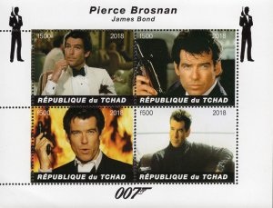 Chad 2018 Pierce Brosnan Hollywood Movie Actor 4v Mint Stamps Sheet S/S. (#115)