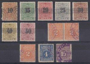 COSTA RICA 1903-15 POSTAGE DUE Sc J2-J10 & J12 TEN SINGLES & A PAIR USED €40.75