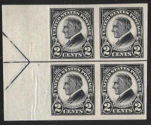 Doyle's_Stamps: MNH 1923 Warren G. Harding Guideline Arrow Block, Scott #611**