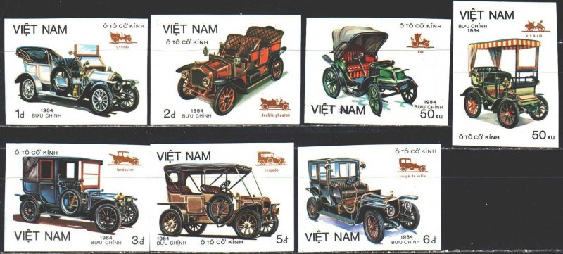 Vietnam. 1984. 1494V-1500V. Vintage cars. MNH.