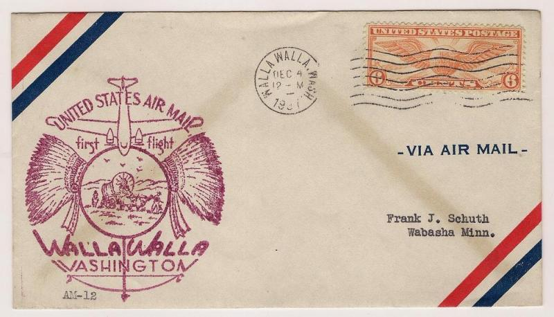 US#C19 - First Flight Cover - Walla Walla to Wabash