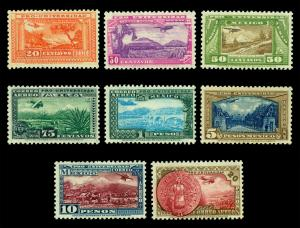 MEXICO 1934 AIRMAIL - National University issue set 20c - 20p Sc#C54-61 mint MLH