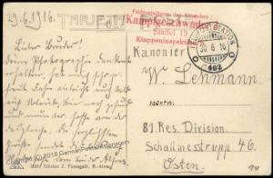 Germany WWI Air Force Bomber Kampfgeschwader 3 Staffel 15 Feldpost FPN402  68324