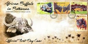 Botswana 2015 FDC African Buffalo 4v Cover Buffalos Lions Wild Animals Stamps