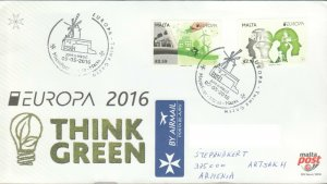 EUROPA CEPT 2016 THINK GREEN FDC COVER TO ARTSAKH KARABAKH ARMENIA R2021693