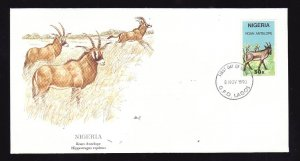 Flora & Fauna of the World #141d-stamp on FDC-Animals-Roan Antelope-Nigeria-sing