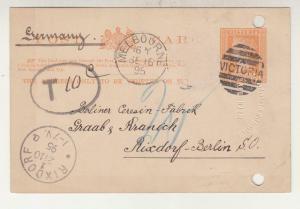 VICTORIA, Postal Card, 1895 1d. Orange, KAISERLICHE DEUTSCHES KONSULAT embossing