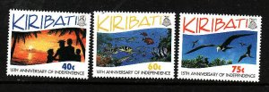 Kiribati-Sc#631-3-Unused NH set-Independence-Birds-please note that there is a