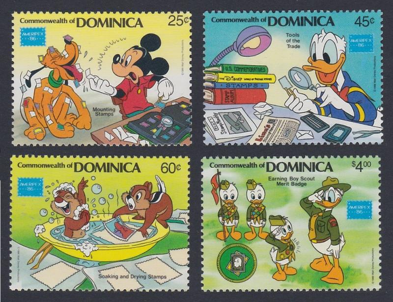 Dominica Disney 'Ameripex 86' Philatelic Exhibition 4v SG#1002/05 SC#954-57