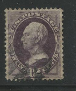1870 US Stamp #151 12c Used Very Fine Filled Thin Canceled Catalogue Value $285