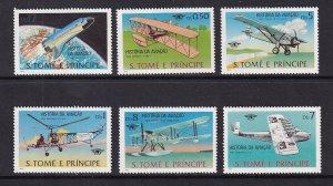 St. Thomas & Prince MNH 528-33 History Of Aviation SCV $10.60