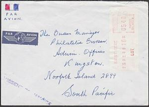 FRANCE TO NORFOLK ISLAND MISSENT TO JAMAICA 1988 cover.....................54772