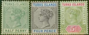 Turks & Caicos Is 1893-95 set of 3 SG70-72 Fine Mtd Mint