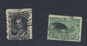 2x Canada Newfoundland Used Stamps #27-10c #47-2c Cod Fish Guide Value = $70.00