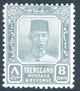 MALAYA (TRENGGANU)-1938 8c Grey Sg 34 MOUNTED MINT V18308