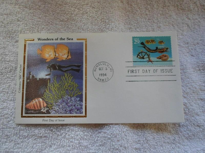1994 US FDC COLORANO SILK CACHET WONDERS OF THE SEA