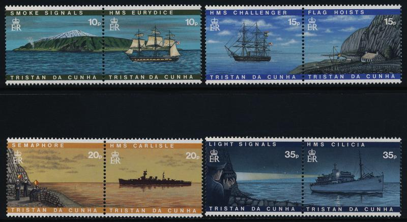 Tristan da Cunha 594a-600a MNH Visual Communications, Ships, Flags