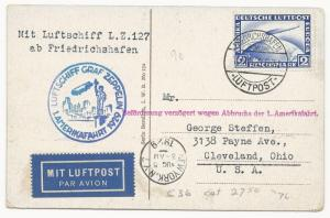 Germany Scott #C36 on Air Mail Cover Post Card Berlin to USA 1929