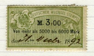 GERMANY; 1880s-90s classic early Bill Stamp fine used 3M. value