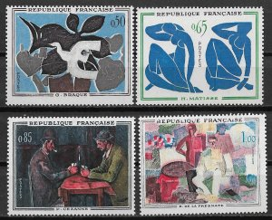 1961 France 1014-7 complete Paintings set of 4 MNH