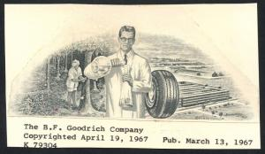 THE B.F. GOODRICH COMPANY APRIL 19,1967 VIGNETTE DIE PROOF UNIQUE BT3639