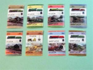 St. Lucia - 617-24, MNH Set (Pairs). Locomotives. SCV - $5.70