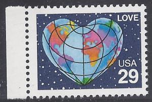 #2535 29c Love Issue - Heart Shaped Globe 1991 Mint NH