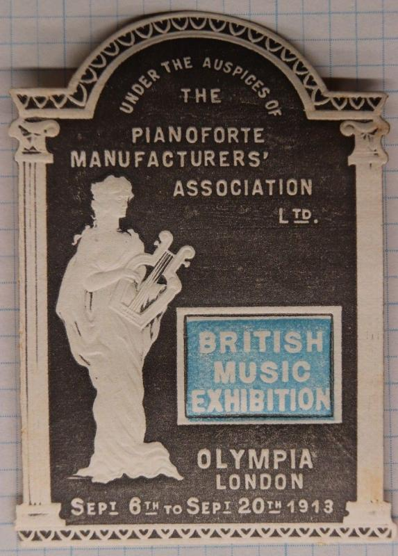 British Music Exhibition Olympia London UK 1913 expo Poster die-cut embossed ad