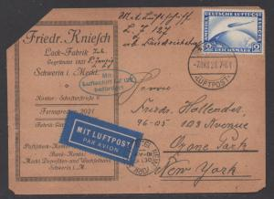 **Germany, SC# C36, Zeppelin Post Card, Corner Fault, Small Tear at top, CV $100