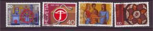 J10914 JL Stamps @20%scv 1981 swiss set4 used #704-7 designs