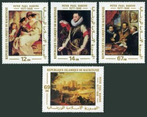 Mauritania 378-381,382,MNH.Michel 590-593,Bl.20. Paintings by Peter Rubens,1977.